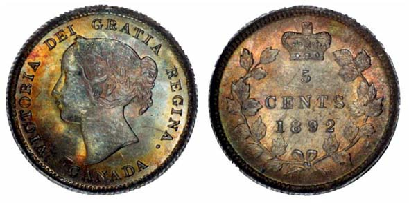Click here to view a Canadian 5 cent silver coin from 1892!